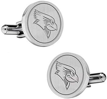 Natural Finish Sterling Silver Round Top Cufflinks College Jewelry Illinois State University Redbirds Cufflinks