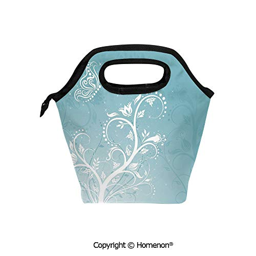 Insulated Neoprene Soft Lunch Bag Tote Handbag lunchbox,3d prited with Magical Nature Themed Ornaments Swirled Tree Branches Fantasy,For School work Office Kids Lunch Box & Food Container