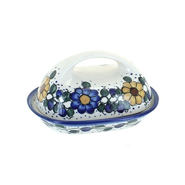 Blue Rose Polish Pottery Geranium Butter Dish