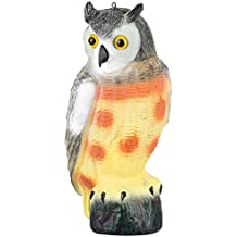"""briteNway Large Scarecrow Owl Decoy Statue By Realistic Fake Owl Outdoor Pest & Bird Deterrent, Hand-Painted Garden Protector, Scares Away Squirrels, Pigeons, Rabbits & More – 16,5"""" Hollow Design"""