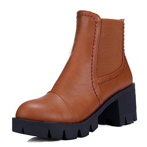 送る腹器用BalaMasa 女性 レトロ カジュアル コンフォート 滑り止めソール バックジッパー Puの皮 ブーツ?ブーティ