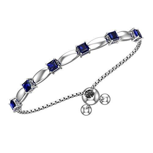 (Belinda Jewelz Womens 925 Sterling Silver Sparkling Square Bolo Gemstone Adjustable Tennis Pull String Birthstone Jewelry Fine Bracelet, 2.1 Carat Created Blue Sapphire, 11 Inch Box)