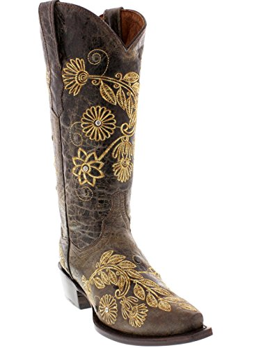 Cowboy Professional Womens Brown Roma Western Leather Cowboy Boots Snip Toe Brown YUz7OMfsO