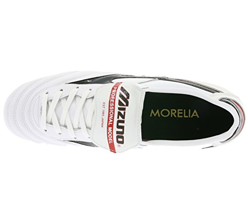Mizuno Morelia Moulded Firm Ground Football (Pearl-Black-Red) Perle-Schwarz-Rot