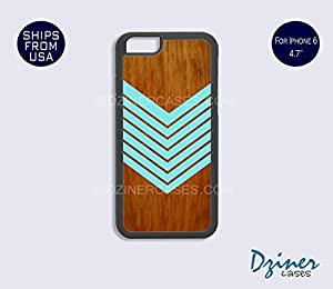 iPhone 6 Case - 4.7 inch model - Geometric Teal Arrow on Wood Design