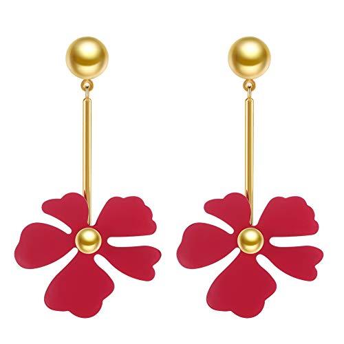 Flower Drop Earrings, Yellow Flora Petals Gold Drop Dangle Earrings for Women (Red)