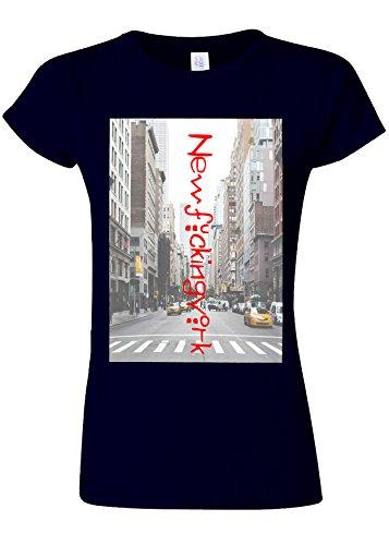 ハイブリッドシャトルきつくNewF*ckingYork New York City NYC Novelty Navy Women T Shirt Top-XXL
