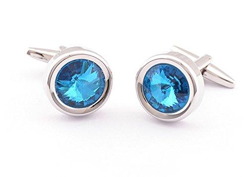 Crystal Elegant Cufflinks (Super Shiny Swarovski Similar Crystal Blue Opal Circular Cufflinks Elegant Style)