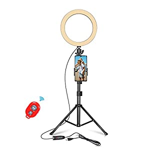 Best Epic Trends 41EY2jS2NKL._SS300_ EMART 10-inch Selfie Ring Light with Adjustable Tripod Stand & Cell Phone Holder for Live Stream, YouTube Video, Makeup…