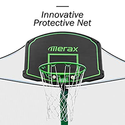 Merax 14 FT Round Trampoline with Safety Enclosure, Basketball Hoop and Ladder (Upgraded with PVC Pad + Ball Stop Net) : Sports & Outdoors