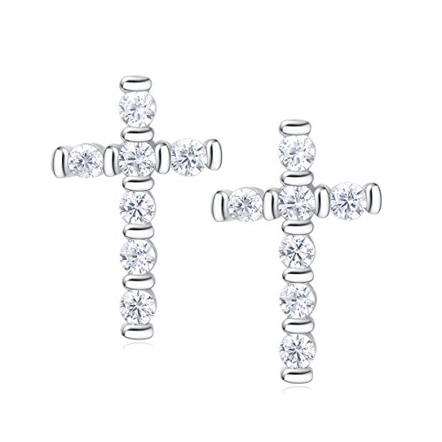 (Carleen 14k Gold Plated 925 Sterling Silver CZ Cubic Zirconia Cross Stud Earrings Women Girls (White Gold))