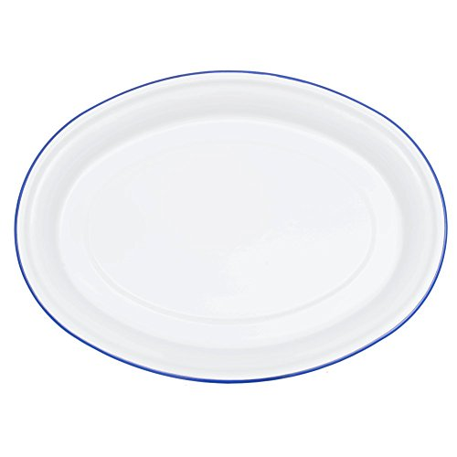 Blue White Platters - Enamelware Oval Serving Platter - Solid White with Blue Rim