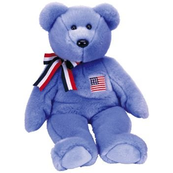 1 X TY Beanie Buddy - AMERICA the Bear ( Blue Version )