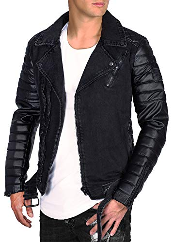 Schwarz Black Cinturón Ciudad Chaqueta Desmontable Hombre Reich Biker Zipper Rs005 OwHRqp