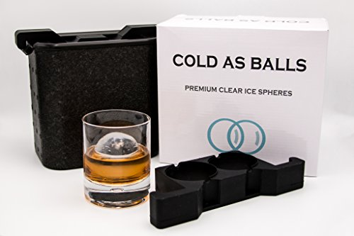 Gift Ice (COLD AS BALLS Premium Crystal Clear Ice Sphere System for the True Whiskey, Bourbon or Cocktail Enthusiast – BPA Free FDA Approved Silicone Ice Tray Molds – Perfect as Whiskey Gift Set)