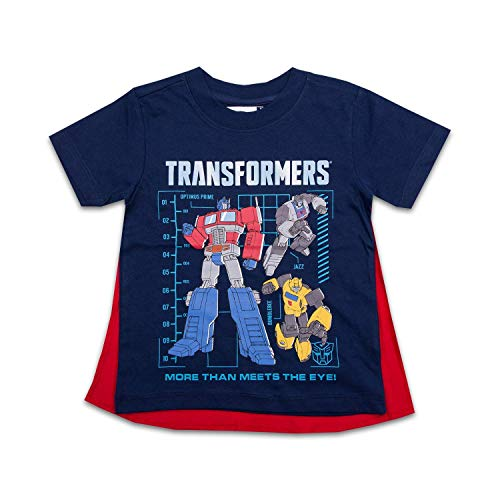 Transformers Toddler Boys Cape Shirt Cape Tee - Optimus Prime Bumblebee (Navy, 3T) (Bee Cap Bumble Toddler)