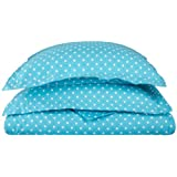 Cotton Blend 600 Thread Count, Soft, Wrinkle Resistant 2-Piece Twin Duvet Cover Set, Polka Dot  Aqua
