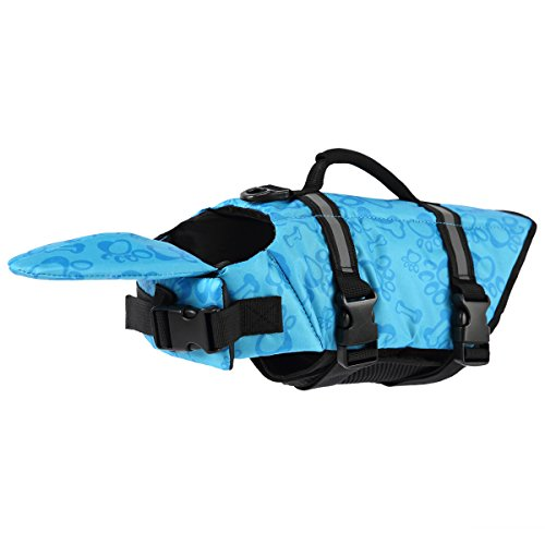 PetCee Dog Life Jacket XL,Dog Life Extra Large Jacket That Well Secure Your Dog's Safety and Quick Release Easy-Fit Adjustable Life Vest for Dogs (Blue, XL) by PetCee