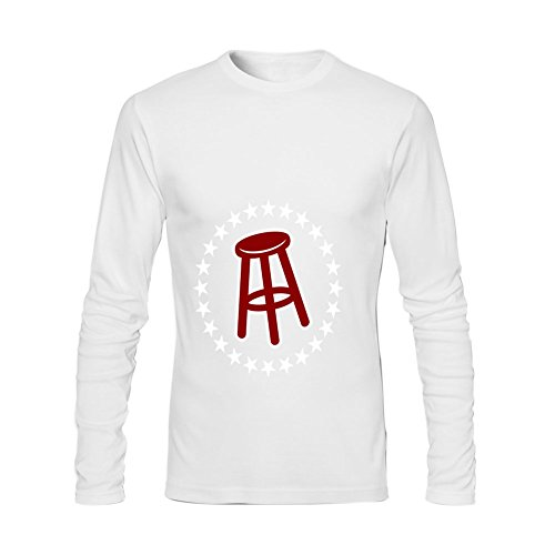 Afterfashion Mens Barstool Sports O Neck Long Sleeve T Shirt L White
