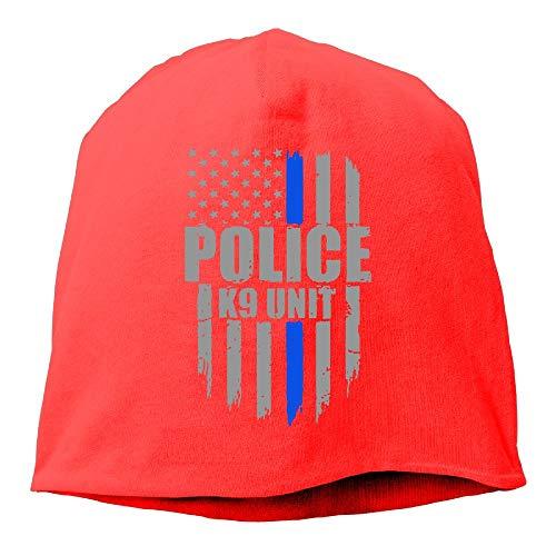 Police K9 Unit Thin Blue Line Flag Skull Cap Thin Knit Cap Men Beanie Hat ()