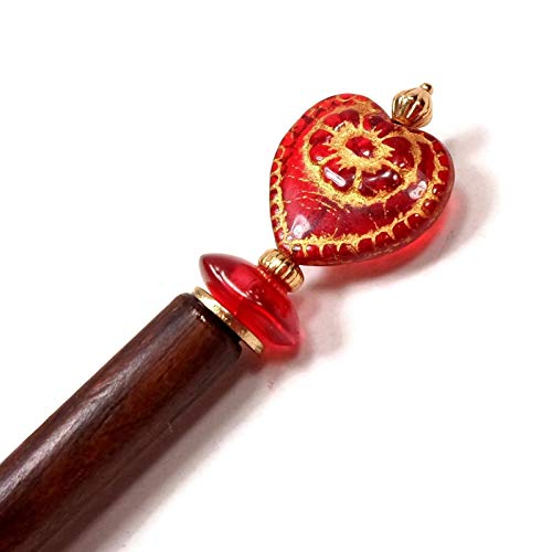 - Red Heart Beaded Wood Hair Stick, Laying Tool