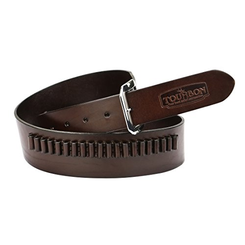 [Tourbon Adjustable Leather Pistol Bandolier Cartridge Belt for .22] (Bandolier Belt)