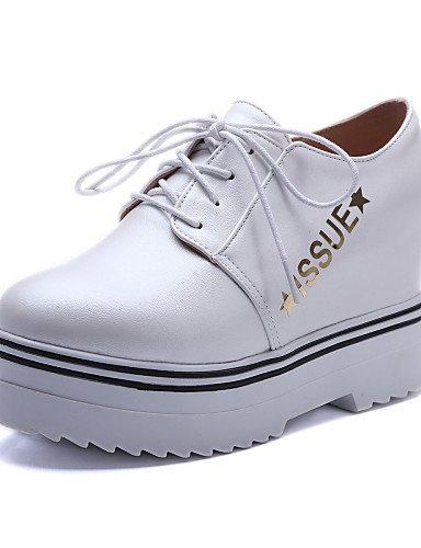 ZQ hug Zapatos de mujer-Plataforma-Plataforma / Creepers / Comfort / Punta Redonda-Oxfords-Exterior / Vestido-Semicuero-Negro / Blanco , white-us10.5 / eu42 / uk8.5 / cn43 , white-us10.5 / eu42 / uk8. white-us5.5 / eu36 / uk3.5 / cn35