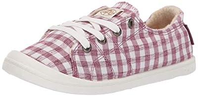 Roxy Women's Bayshore Slip on Shoe Sneaker, Gingham Raspberry, 8 Medium US