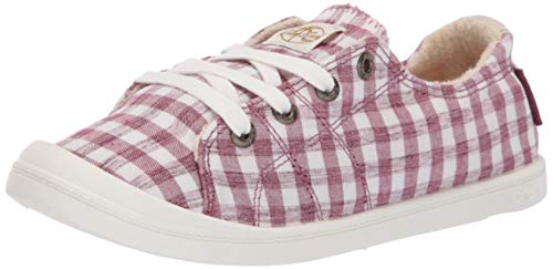 (Roxy Women's Bayshore Slip on Shoe Sneaker, Gingham Raspberry 7.5 Medium)