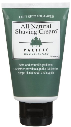 (Pacific Shaving Company Natural Shave Cream - with Safe, Natural, and Plant-Derived Ingredients for a Smooth Shave, Softer Skin, Less Irritation, No Animal Testing, TSA Friendly, Made in USA, 3.4 oz)