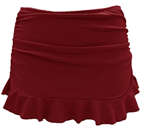 SHEKINI Women's Swimdress Swimsuit Built-in Swim Bottoms Shirred Ruffle Skirt Bikini Bottoms (Large/(US 12-14), Burgandy) by SHEKINI