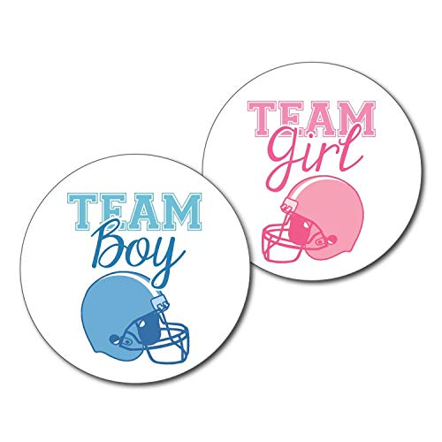 (36 2.5 inch Football Helmet Team Boy and Girl Gender Reveal Party Stickers)