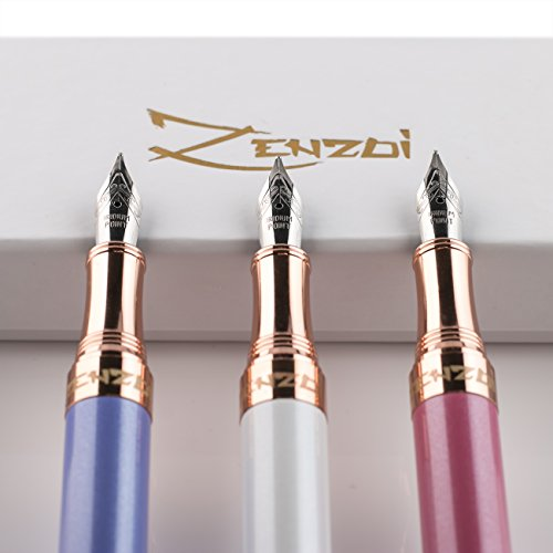 Fountain Pens Set Fine Nib Elegant with Case and Modern Ink Refill Converter for Signature Writing - CASHMERE WHITE -You Get FREE Gift eBook Luxury Pen 3 Amazing Color Options 100% Photo #3