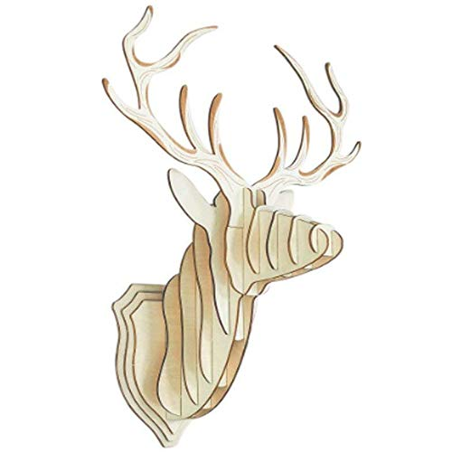 (Glovion DIY 3D Cut Model Kit- Wooden Puzzle Kit for Educational &Wall Decor - Construct a Creative& Visual Model on Your Own Deer)