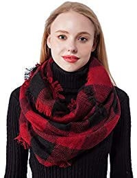 Plaid Knitted Infinity Scarves for Women