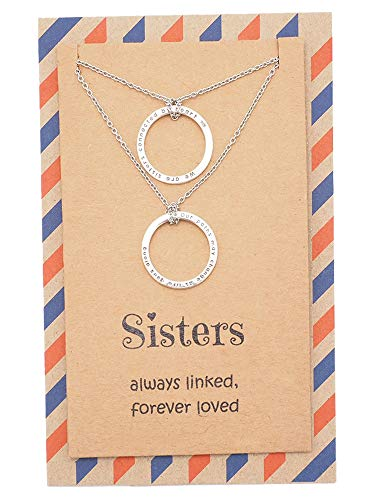 Quan Jewelry Sisters Necklace Set for 2, Christmas Thank You Gifts for Women with Inspirational Quote on Greeting Card