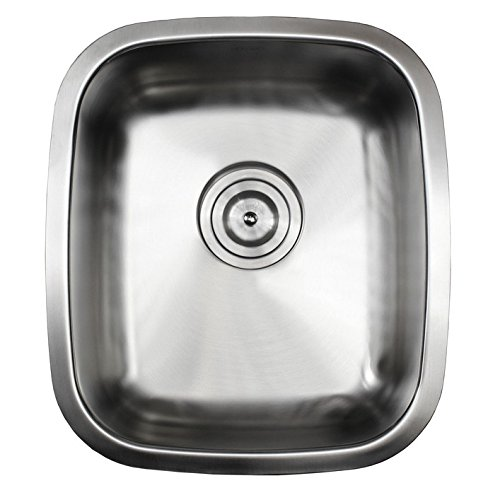 Ariel Pearl Series-15 Inch Stainless Steel Undermount Single Bowl Kitchen Bar Prep Sink – 18 Gauge Free Accessories