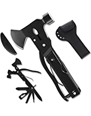 The Latest Multitool Camping Axe, 19-in-1 Survival Gear Camp Hatchet, Folding Portable Multi tool Camping Hammer Tools with Knife, Hammer, Plier, Screwdriver, Unique Gift for Men Dad Husband Boyfriend