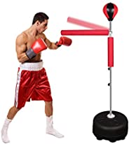Wodesid Free Standing Reflex Punching Balls for Boxing, Height Adjustable Punching Bag Stand, Hand Pump for Te