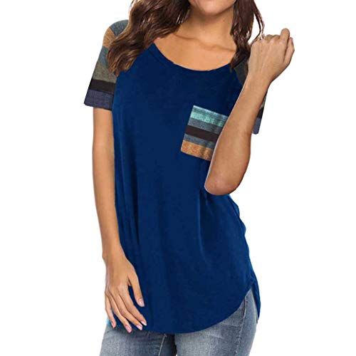 Sunmoot Clearance Sale Fashion Striped Patchwork Top for Women Short Sleeve Print T Shirt Summer Casual Loose Color Block Tunic Long Sleeve Elegant Work Blouse]()