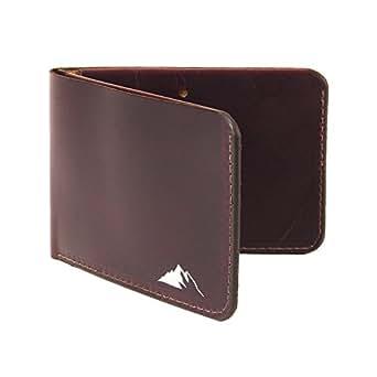 Mens Minimalist Wallet RFID Blocking - Slim Leather Bifold Wallet by Rugged Material (RFID Dark Burgundy)