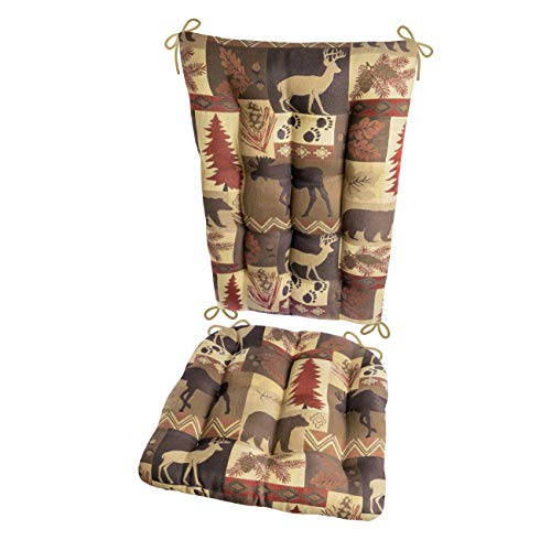 (Wilderness Summit Garnet Rocking Chair Cushions - Size Extra-Large - Latex Foam Filled Seat Pad & Back Rest (Red/Tan, Bears/Moose))