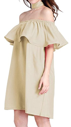 Big Dress Color Tang Short Line A Summer Solid Shoulder Ruffle Khaki Womens Off rrxqaSw