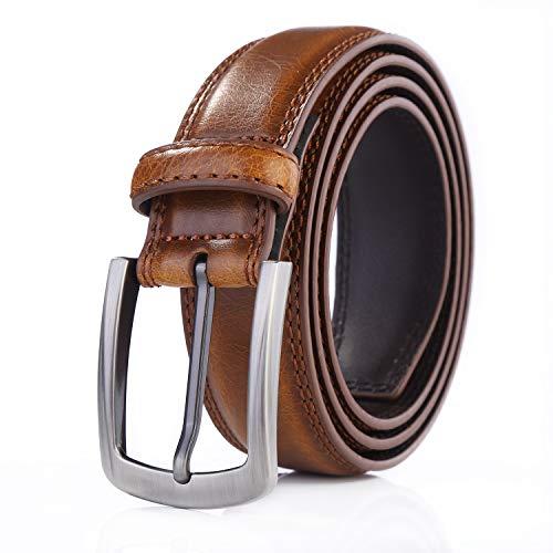 Weifert Men's Dress Belt Black Leather Belts for Jeans (32-34, Burnt Tan)