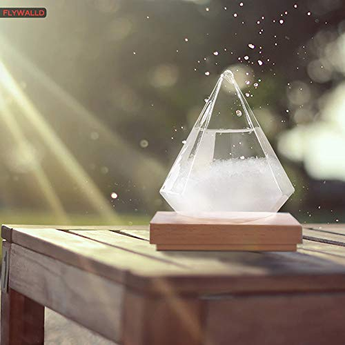 FlyWallD Christmas Gift Weather Predictor Storm Glass Bottle Diamond Creative Stylish Weather Station Forecaster Barometer, Desktop Decoration Crafts Christmas Gift of Choice (Water Droplet+Base)... (Gifts Weather Station)