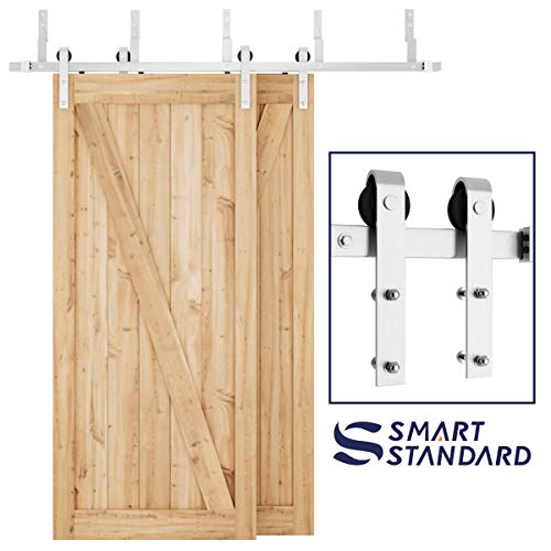 - SMARTSTANDARD 6.6ft Heavy Duty Bypass Stainless Sliding Barn Door Hardware Kit - Smoothly & Quietly -Easy to Install - Includes Step-by-Step Installation Instruction Fit 40