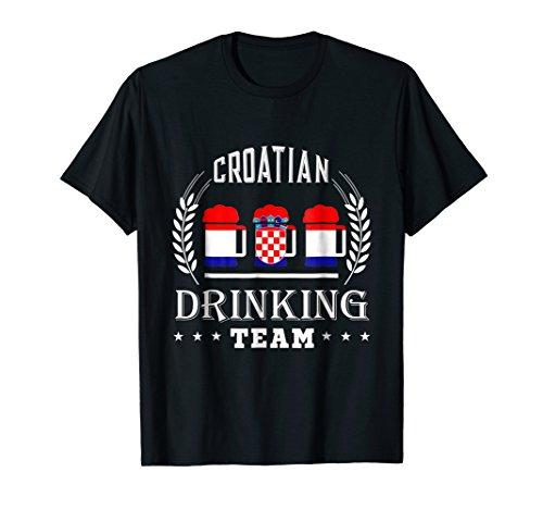 Beer Croatian Drinking Team Casual Croatia Flag T-Shirt ()
