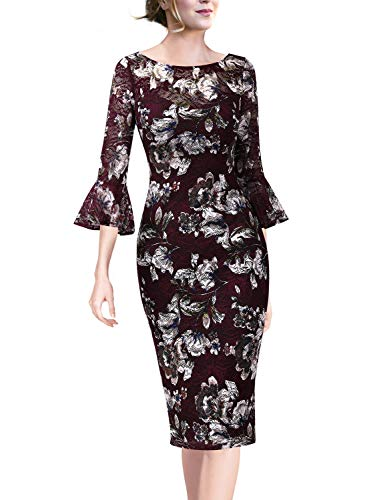 Flounce Lace Dress (VFSHOW Womens Floral Lace Print Bell Sleeves Cocktail Party Sheath Dress 1605 RED XXL)