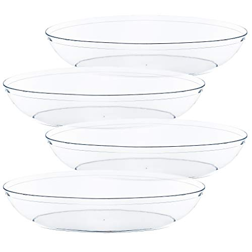 Plasticpro Disposable Oval Serving Bowls, Party Snack or Salad Bowl, 32-Ounce, Plastic Crystal Clear Pack of 4 - Large Oval Bowl
