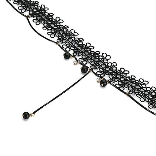 KnSam Ras du Cou Choker Collier Acier Inoxydable Gothique Hollow Bead Chain Tassel Dentelle Noir